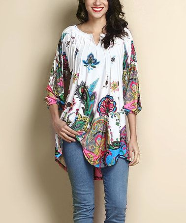 Another great find on #zulily! White Paisley Notch Neck Tunic #zulilyfinds