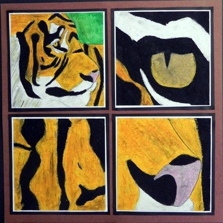 """""""Four Views of an Animal"""" by Elizabeth8188, Artsonia. This project could be applied to a variety of subjects (still-life, figures, animals, etc.). It invited students to make choices about interesting composition & design."""