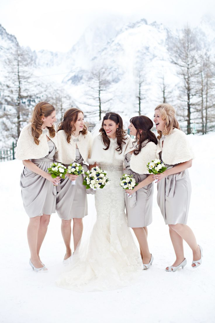 Wedding pictures in the snow wedding bridesmaid