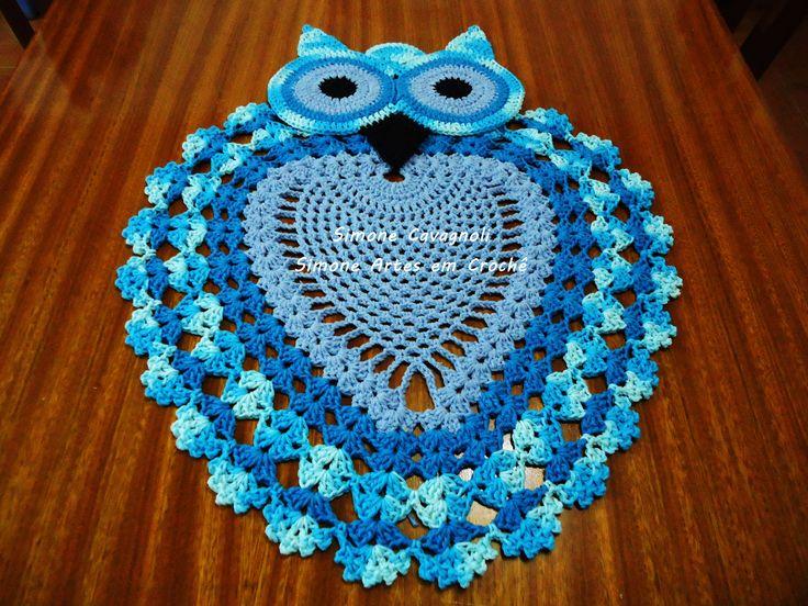 Jogo De Banheiro Azul Em Croche : Coruja azul avulsa ou p jogo de banheiro medidas