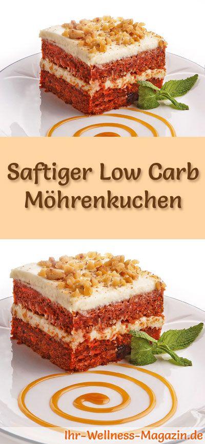 Rezept für Low Carb Möhrenkuchen - kohlenhydratarm, kalorienreduziert, ohne Zucker und Getreidemehl #lowcarb #kuchen #backen