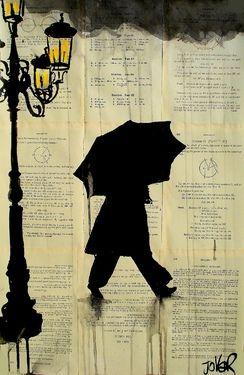 """Artist Loui Jover; Drawing, """"rain"""""""