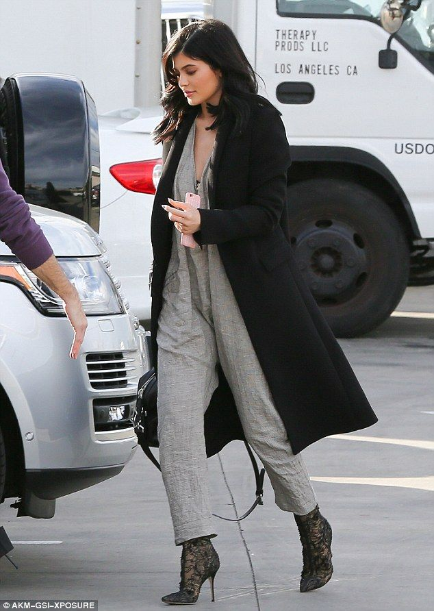 Designer darling: Kylie Jenner looked stylish as she arrived at studios in Burbank, California on Wednesday to film a segment for sister Khloe's new show