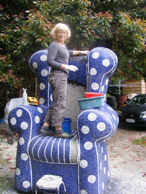 - Alice's Chair - Mosaic Cafe, Garden, Art Gallery, Acacia Bay, Taupo, NZ. Resident Clay Artist. U
