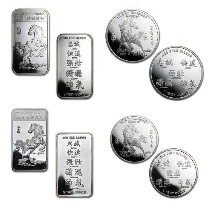 2 zilveren staven  2 zilveren munten 999 fijn zilver - maanjaar van het paard 2014 - AG munten zilveren munten  USA - maanjaar van het paard 201493.3 gram - 999 fijn zilver2014 het Chinees jaar van het paard is een zeer populair motiefonder verzamelaars. De munten zijn pas afgegevenen zijn nu moeilijk te verkrijgen.1 x 1 oz munt1 x goud 1 oz1 x 0.5 oz munt1 x bar 0.5 ozGeregistreerde scheepvaart.Meer van onze veilingen kan worden gevonden hier - voel je vrij om te…