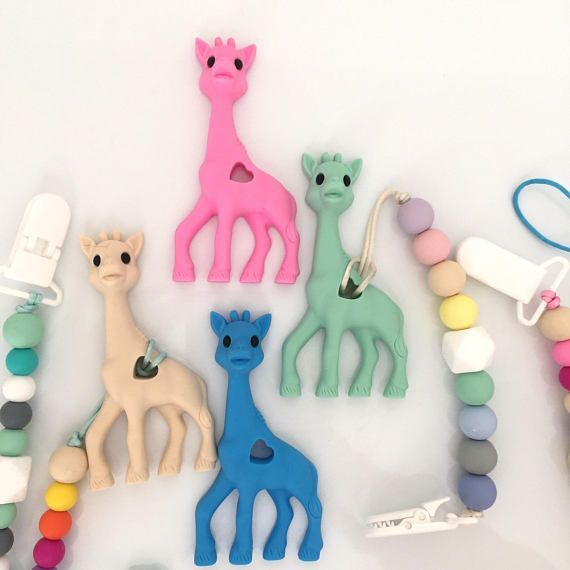 Mini Sophie Giraffe Teether - Giraffe Baby Shower Gift - Newborn Gift - Giraffe Teething Toy - TeethingToy - Giraffe Chew Toy - Paci Clip-- Babies will definitely love these! These colorful teethers and straps will catch you littles attention and he or sh http://mammahealth.blogspot.com/2018/01/teething-and-your-baby-symptoms-and.html