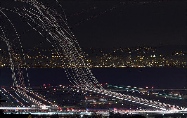 Departures on runway in San Fran airport.