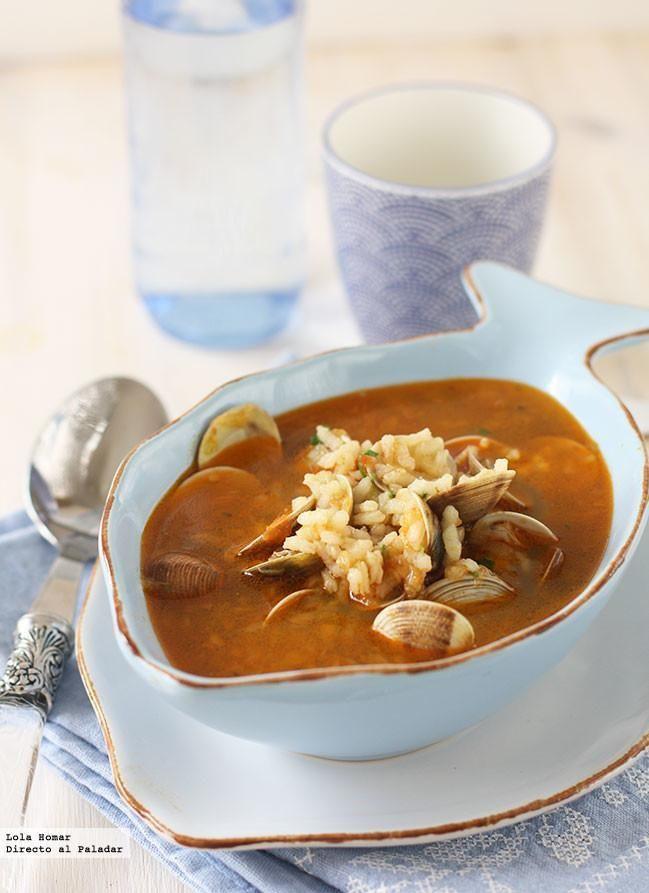 Receta de sopa de chirlas con almejas. Receta de pescados y mariscos. Con fotos de presentación y del paso a paso y consejos de elaboración y de...