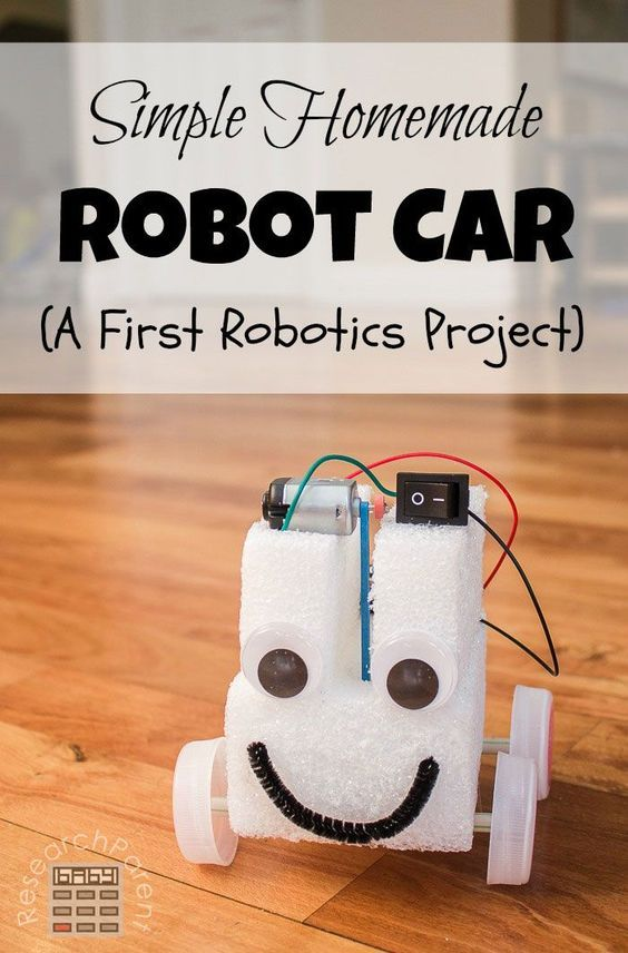 Simple first robot project for kids. Make a fun car with a motor, battery pack, and switch. Great for budding robotics enthusiasts! via /researchparent/