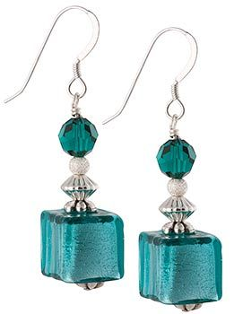 Aqua Verde Murano Glass Cube Earrings over Silver with Swarovski Crystals, Wholesale Venetian Glass jewelry