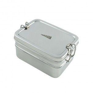 RVS Lunchbox. Bestaat uit 3 delen:  Onderste Laag - Inhoud 400ml   Top laag - Inhoud 500ml   Totale Inhoud 900ml   Incl. Mini trommel - inhoud 150ml