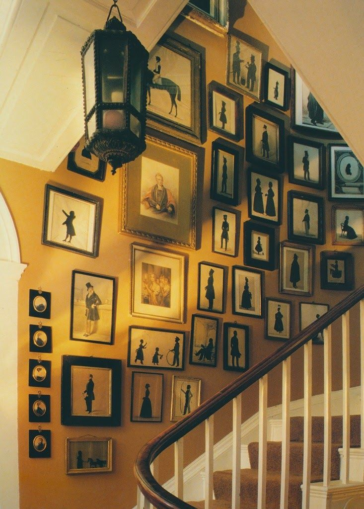 a collection of 18th- and 19th-century silhouettes in a home in sussex, england featured in 'interiors' by minn hogg and wendy harrop
