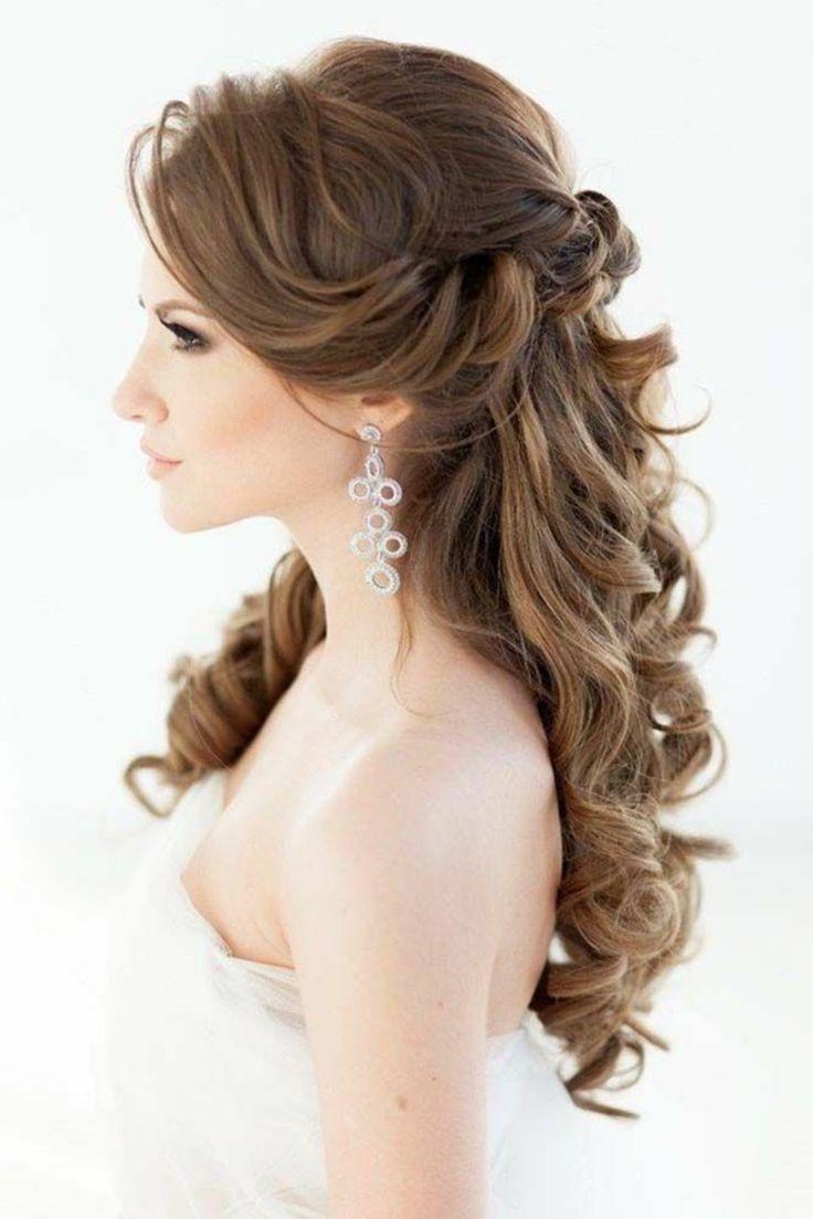 Romantische Wellen Hochzeitsfrisur Halb Offen Halb Offen Hochzeit Frisur Roman Frisuren Frauen Brautfrisuren Lange Haare Frisur Hochzeit Lange Haare