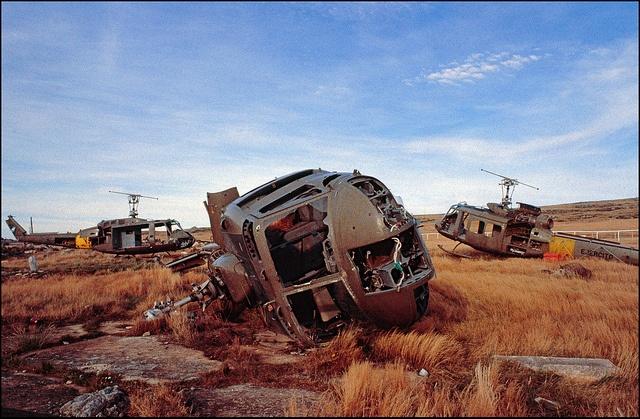 Falklands War, Argentinian Hueys on Stanley racecourse by Hector Patrick, via Flickr