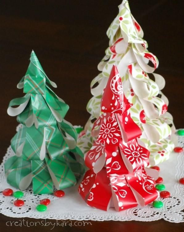 DIY Christmas Paper Decorations : DIY Wrapping Paper Christmas Trees