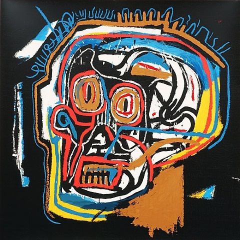 TITLE: Skull  ARTIST: 	 Jean-Michel Basquiat (American, 1960–1988)  WORK DATE: 2002  CATEGORY: Prints  MATERIALS: 	Screenprint on board  EDITION/SET OF: 85  MARKINGS:  Signed and numbered by foundation  SIZE: h: 40 x w: 40 in / h: 101.6 x w: 101.6 cm