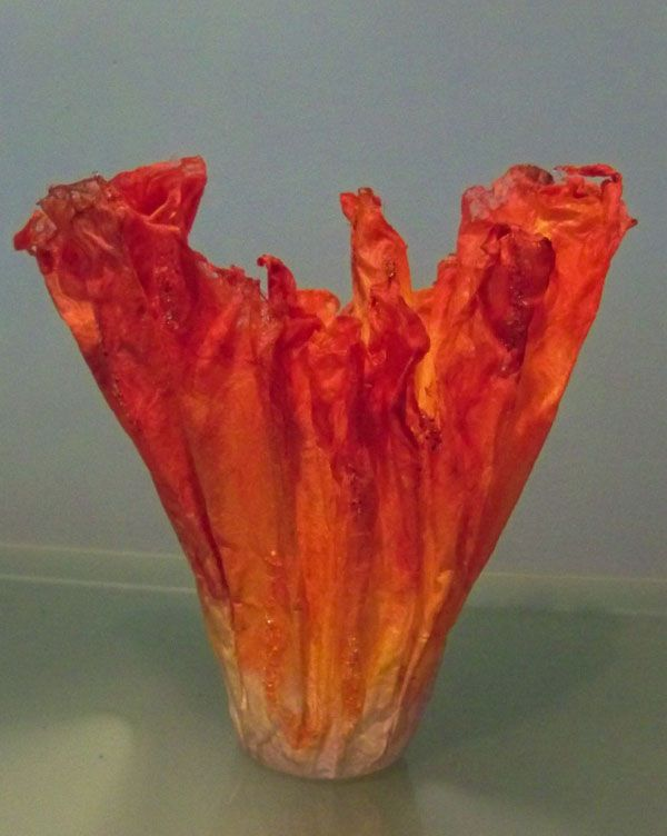 Silk Fusion fiber sculpture, votive holder.By Mary Therese ...