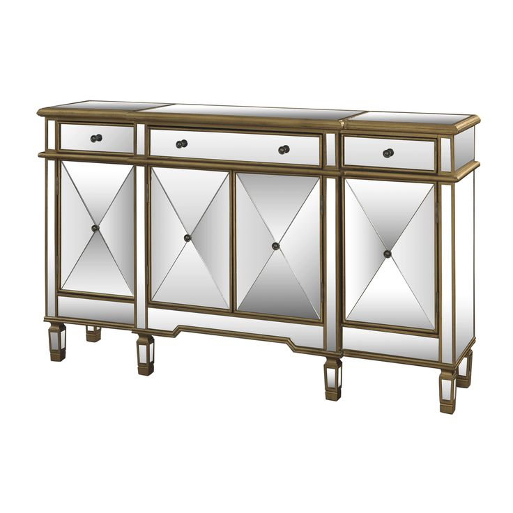 Powell Gold And Mirrored 3 Drawer 4 Door Console   Overstock™ Shopping