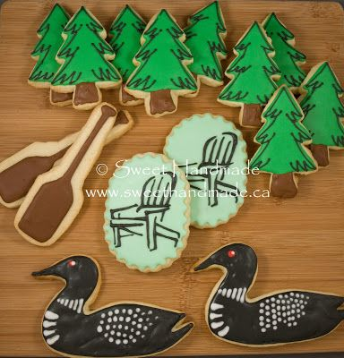 Sweet Handmade Cookies - loon cookies, pine tree cookies, muskoka chair cookies, paddle cookies