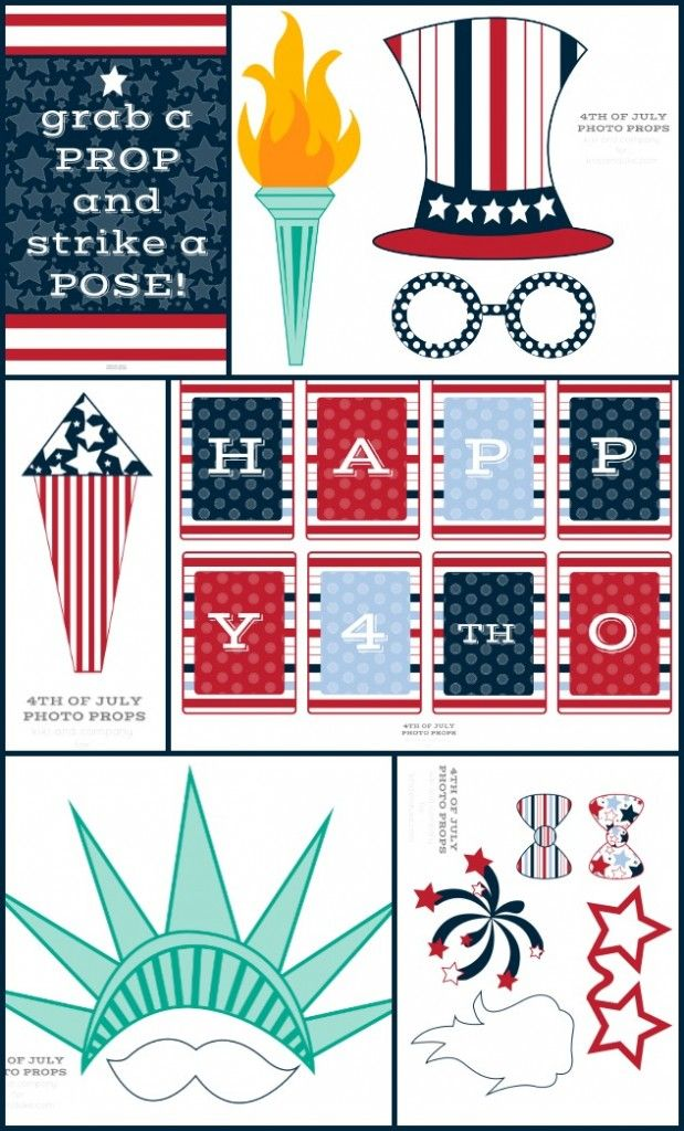 July 4th Photo Booth props, free printables for a party idea or just fun with the kids in the summer!