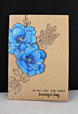 handmade card .... kraft base ...  gorgeous blue flowers colored with Copic coloring on white, cut out, and adhered ...  Altenew Stamp ...