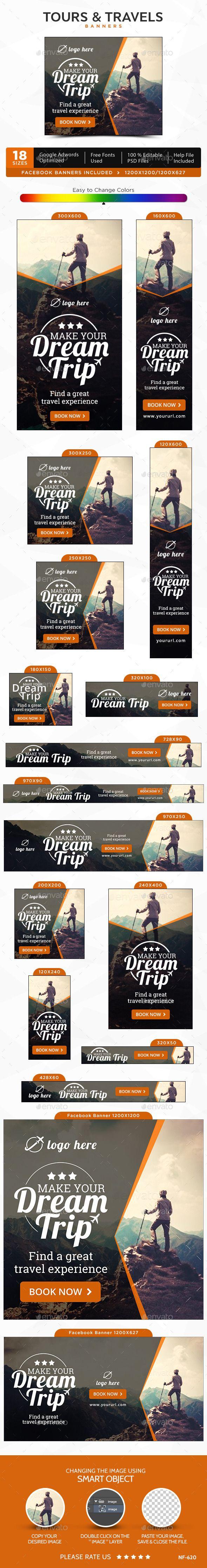 Туры и Путешествия, дизайн баннера для рекламы вашего туристического агенства #макет #реклама Скачать: http://graphicriver.net/item/tours-travels-banners/12800665?ref=ksioks