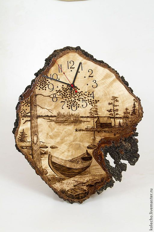 Купить Часы настенные на капе - бежевый, часы, часы настенные, настенные часы, часы из дерева