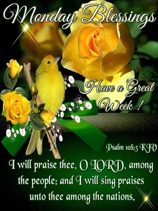 Monday Blessings. Psalm 108:3 KJV