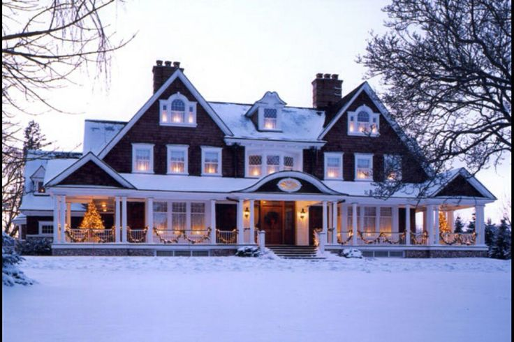 love the big porch, and the snow makes it so much more beautiful! #home #porch #snow
