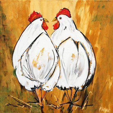 Kippen in het hooi