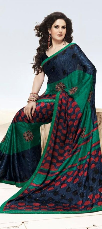 Crepe fabric in blue & green Bollywood Saree