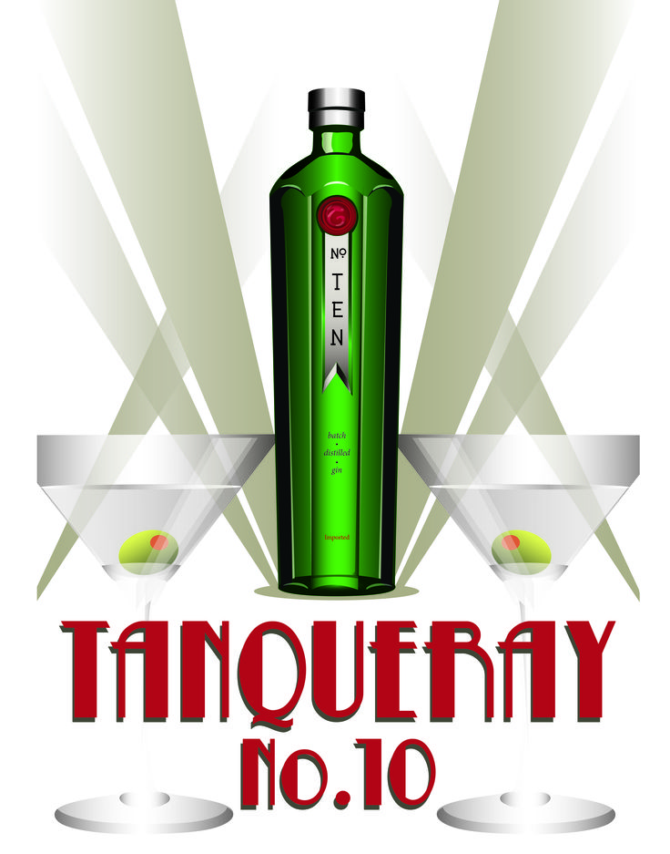Tanqueray No.10 advertisement in Art Deco style - created all elements in Illustrator