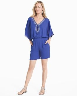 """Our best of summer edit starts with this bright blue embellished romper. With metallic details, tassels and an effortless one-and-done silhouette, it's perfect from beach to brunch to date night. Dress it up with chunky heels and statement earrings; dress it down with strappy metallic sandals. Kimono sleeve embroidered blue romper Lurex® metallic embroidery Partially lined; ¾ sleeves Regular: Approx. 32 1/4"""" from shoulder; hits 5"""" above the knee Petite: Approx. 30 7/8&..."""