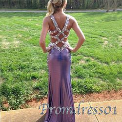 #promdress01 prom dresses -Luxuary purple beaded sparkly open back long prom dress for teens, ball gown, evening dress for season 2015