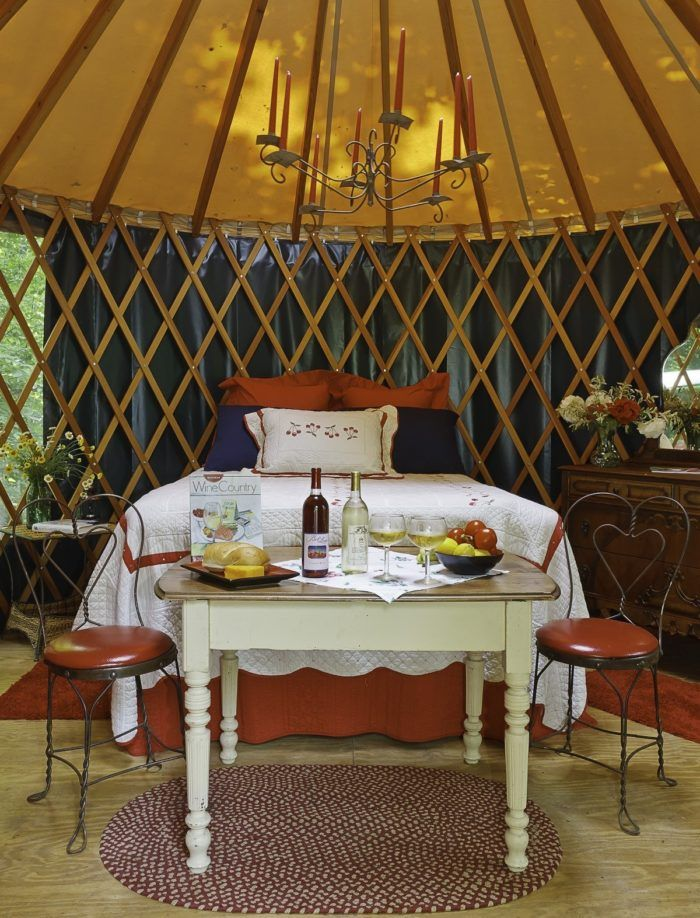 Each yurt features a cozy bed, dresser, table and chair set, and futon. You'll even find a gas grill on-site so you can cook up a delicious meal!