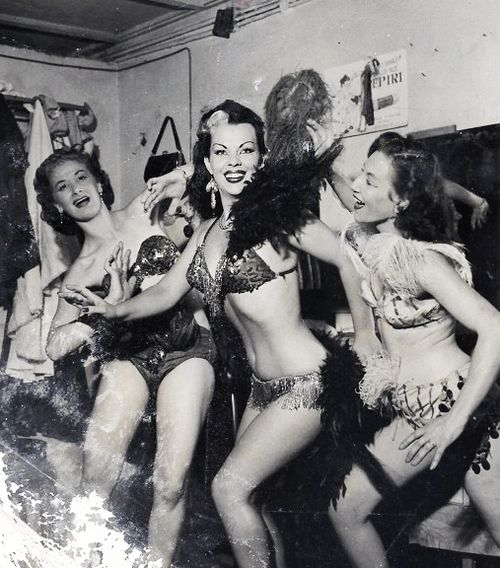 "Mexican Cinema actress and exotic dancer Yolanda ""Tongolele"" Montes (center) actress in  c. 1950s"