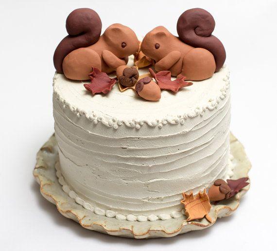 Fondant Squirrel Cake Topper By Seasonablyadorned On Etsy