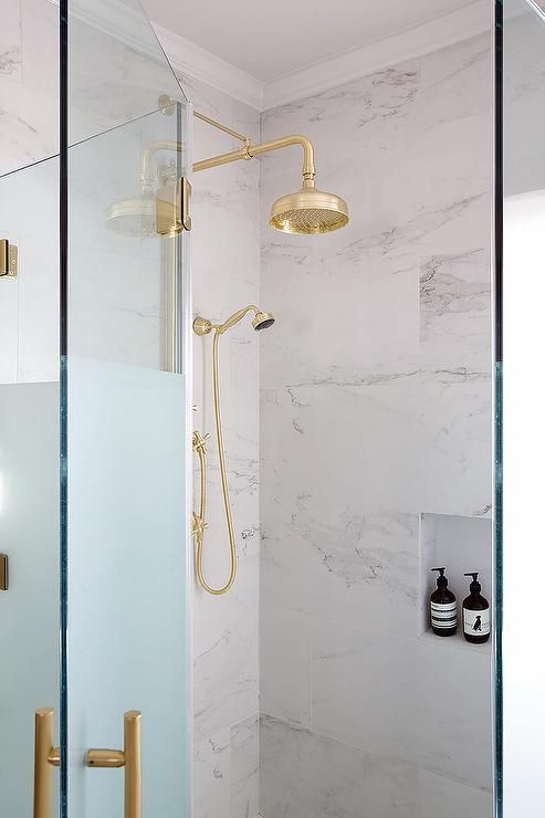 Gorgeous Master Bathroom Boasts A Frosted Glass Shower