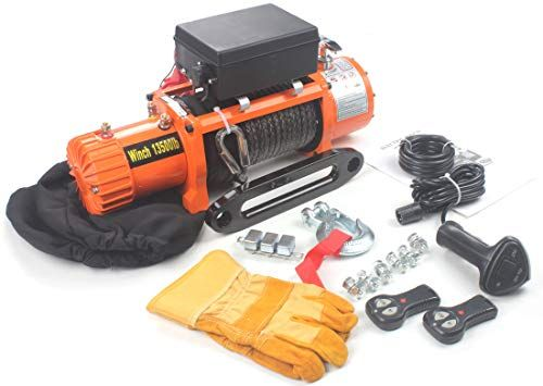 AC-DK 12V DC 13500 lb Synthetic Rope Electric Winch