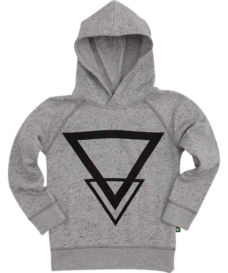 Molo very funky grey spickled hoodie with black print. molo.en.emilea.be