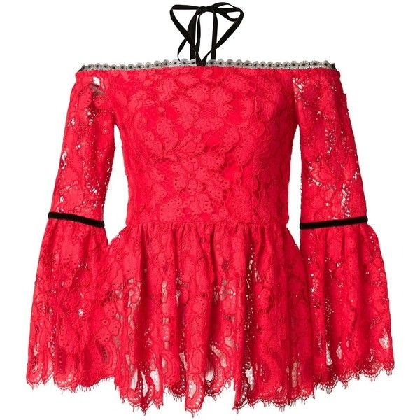 Alexis 'Grace' blouse (2,965 CNY) ❤ liked on Polyvore featuring tops, blouses, red, red top, alexis tops and red blouse