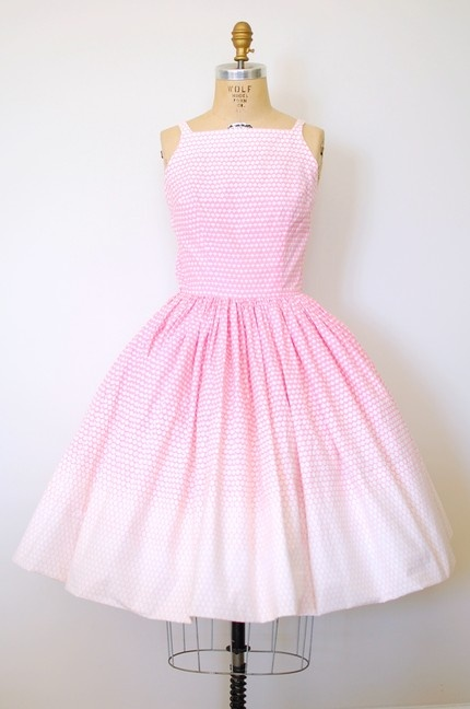pretty in pink 50s sundress. Looks like a dress I had. Loved the 50's. Girls always dressed nice to go to school.
