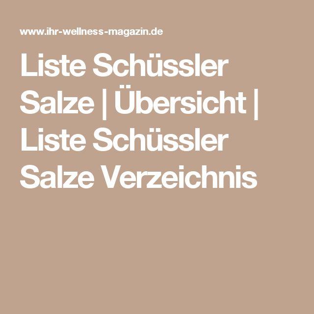 Liste Schüssler Salze | Übersicht | Liste Schüssler Salze Verzeichnis
