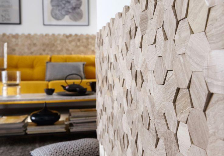 Plaquette de parement en pierre naturelle créme Hexagone cottage. #homedecor #deco #mur #hexagone