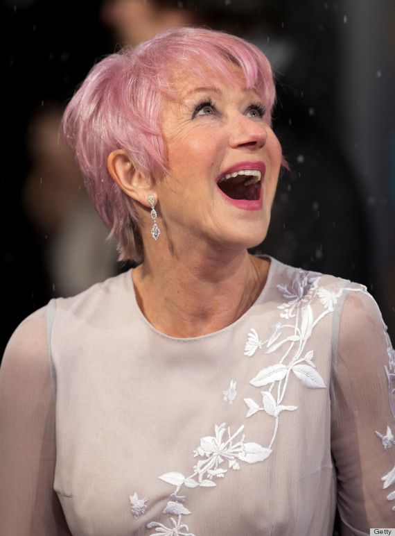 Helen Mirren (67) February. Rocking Pink Hair.  http://stillblondeafteralltheseyears.com/category/hairstyles-for-women-over-45/ #Womenover45 #fashionforWomenover45 #HairstylesforWomenover45