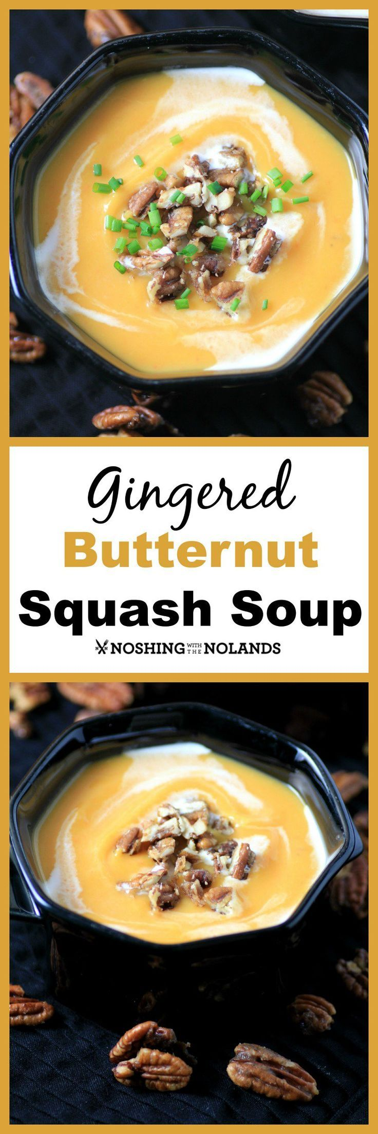 Gingered Butternut Squash Soup by Noshing With The Nolands is a gorgeous fall soup that would be great for Thanksgiving.