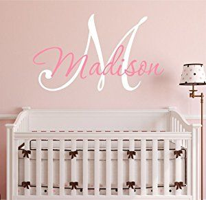 """Nursery Custom Name and Initial Wall Decal Sticker 23"""" W by 17"""" H, Girl Name Wall Decal, Girls Name, Wall Decor, Personalized, Girls Name Decor, Nursery Bedroom Baby Decor PLUS FREE HELLO DOOR DECAL"""