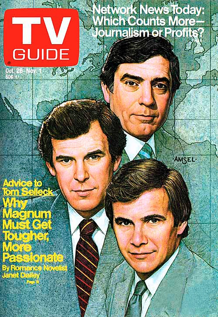 """Richard Amsel TV Guide Cover, October 26, 1985, """"Dan Rather, Peter Jennings & Tom Brokaw"""" — This is the final work of art completed by Richard Amsel. He died less than three weeks later, on Nov. 17, 1985. He was 37 years old."""