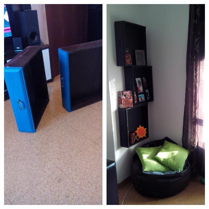 Estante com gavetas velhas... Lixar, pintar... Pendurar! E temos uma estante nova com gavetas velhas!