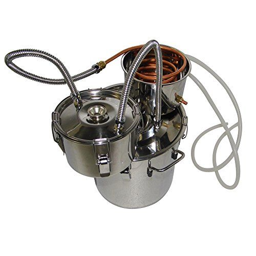 OLizee 3 Pots 5 Gal Stainless Steel Water Alcohol Distiller Copper Tube 18L Moonshine Still Spirits Boiler Home Wine Making Kit >>> To view further for this item, visit the image link.